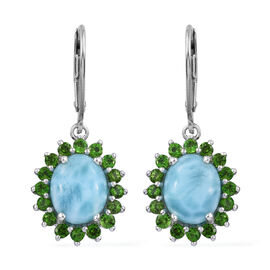 7 Carat Larimar and Russian Diopside Halo Drop Earrings in Platinum Plated Sterling Silver