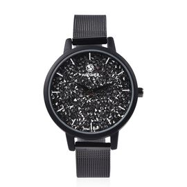 STRADA Japanese Movement Austrian Black Crystal (Rnd) Water Resistant Watch in Black Plated Stainles