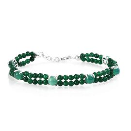 26.25 Ct Green Onyx and Green Quartz Two Row Beaded  Bracelet in Silver 7.5 Inch