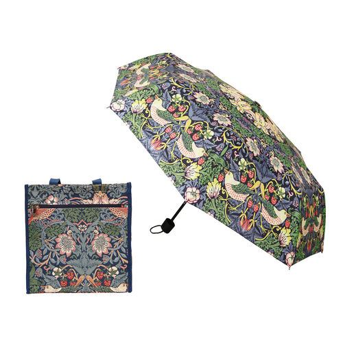 Signare Tapestry - 2 Piece Set - Strawberry Theif Shopping Bag (17X6X22cm) and Umbrella in Teal blue