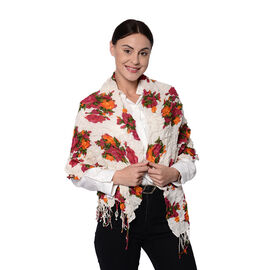 Red Floral on White Stretch Scarf with Tassels (150x55cm)