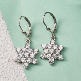 Swarovski Zirconia  Dangling Earring in Platinum Overlay Sterling Silver 6.24 ct  6.240  Ct.