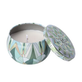 Aromatic Candle in Light Green Abstract Pattern Container (Burning Time - 15 Hours) - Grapes Fragran