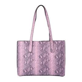 Light Pink Retro Snake Skin Pattern Handbag with Zipper Closure (Size 37x11x28 Cm)