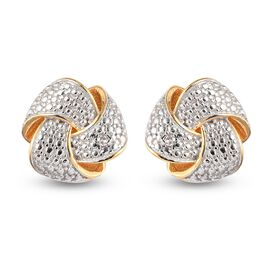 White Diamond Knot Earrings (with Push Back) in 14K Gold Overlay Sterling Silver