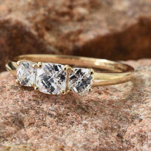 J Francis - 9K Yellow Gold (Cush) 3 Stone Ring Made with SWAROVSKI ZIRCONIA