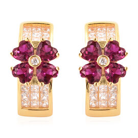 ELANZA Simulated Ruby and Simulated Diamond Four-Leaf Clover Earrings (with Push Back) in Yellow Gol