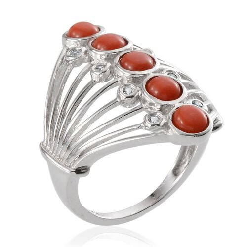 Natural Mediterranean Coral (Rnd), White Topaz Ring in Platinum Overlay Sterling Silver 1.150 Ct, Silver wt 6.00 Gms.