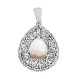 Limited Available- Ethiopian Welo Opal (Pear), White Topaz Pendant in Platinum Overlay Sterling Silv