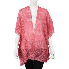 Pink Colour Floral Lace Kimono (Size 70x75 Cm)