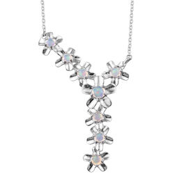 1.50 Carat Ethiopian Welo Opal Floral Necklace in Platinum Plated Sterling Silver