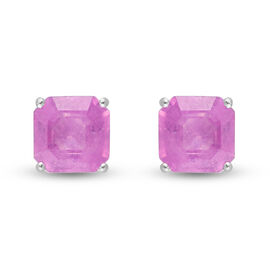 Pink Sapphire Asscher Cut Solitaire Stud Earrings (with Push Back) in Sterling Silver 2.69 Ct.