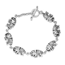 Elephant Link Bracelet in Sterling Silver 11.76 Grams 7.5 Inch