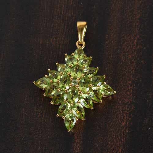Hebei Peridot Cluster Pendant in 14K Gold Overlay Sterling Silver 5.65 Ct.