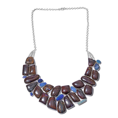 Australian Boulder Opal Rock Necklace (Size 18) in Sterling Silver 566.500 Ct. Silver wt. 73.65 Gms.