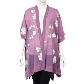 Flower Embroidery Pattern Kimono (Size 95x80 Cm) - Purple