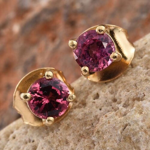 Mahenge Pink Spinel (Rnd) Stud Earrings (with Push Back) in 14K Gold Overlay Sterling Silver 0.500 Ct.