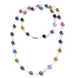 Designer Inspired  Multi Agate (Round 11-13mm )Necklace (Size 44) in Silver Plated 330.000 Ct