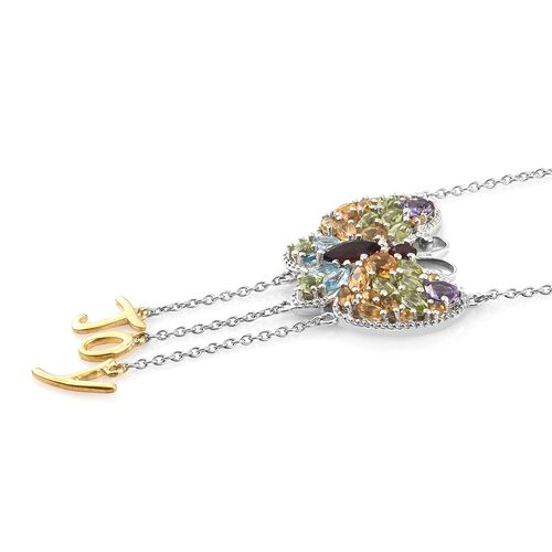 GP Mozambique Garnet, Amethyst, Citrine and Multi Gemstone Butterfly with Joy Necklace (Size 18 + 2 inch Extender) in Platinum and Yellow Gold Overlay Sterling Silver 5.250 Ct. Silver wt 9.55 Gms.