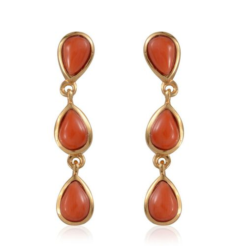 Natural Mediterranean Coral (Pear) Earrings in 14K Gold Overlay Sterling Silver 2.250 Ct.