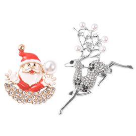 2 Piece Set - Black and White Austrian Crystal (Rnd), Simulated Pearl Santa Claus and Reindeer Ename