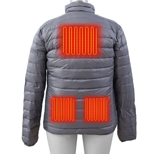 DOD - Japanese Heating Wire Puffer Down Feather Jacket with 3 Heat Setting (Size XL) - Silver Grey