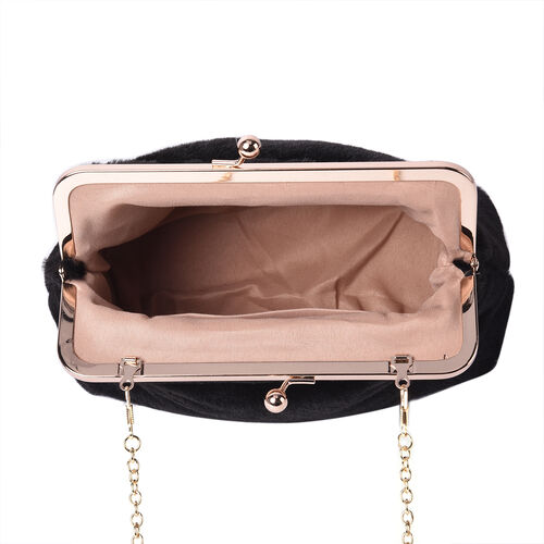 Solid Black Faux Fur Clutch Closure Crossbody Bag (Size: 23x10x18cm) with Chain Shoulder Strap (L: 120cm) in Gold Tone