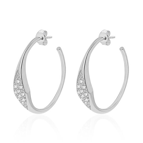 (Option 3) One Time Close Out Simulated Diamond Studded Hoop Earrings, Silver wt 6.32 Gms.