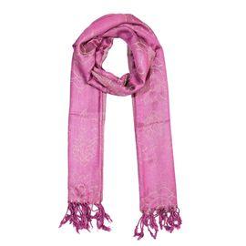 Lilac Colour Metallic Floral Pattern Scarf (Size 50x180 Cm)