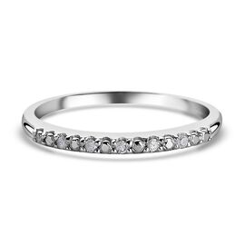 Diamond Half Eternity Ring in Platinum Overlay Sterling Silver
