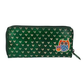 SUKRITI 100% Genuine Leather Owl Family Wallet with RFID Blocker (Size 22x10 Cm) - Green