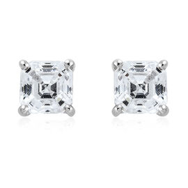 J Francis - Platinum Overlay Sterling Silver (Oct) Stud Earrings (With Push Back) Made with SWAROVSKI ZIRCONIA
