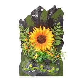 Home Decor - Wall Hanging Artificial Sunflower Frame (Size 38x23.5 Cm) - Colour Yellow,Green and Bla