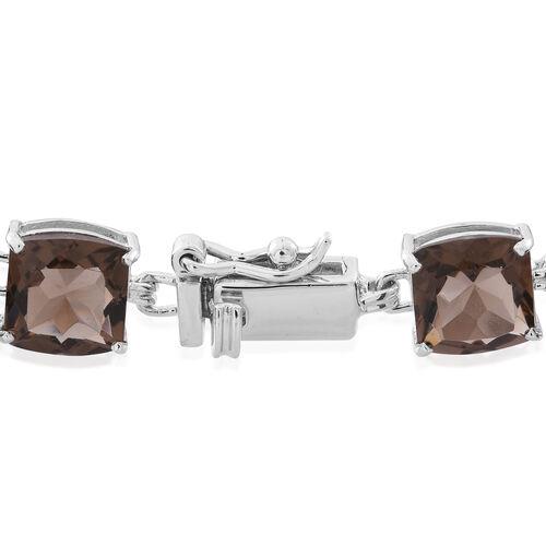 Brazilian Smoky Quartz (Cush) Bracelet (Size 7.5) in Rhodium Plated Sterling Silver 18.000 Ct.