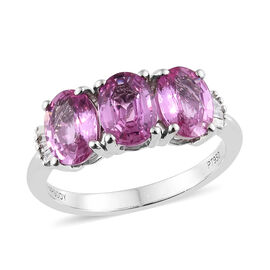 Signature Collection- RHAPSODY 950 Platinum Extremely Rare AAAA Pink Sapphire (Ovl), Diamond (VS/E-F) Ring 2.750 Ct Platinum Wt 4.45 Grams