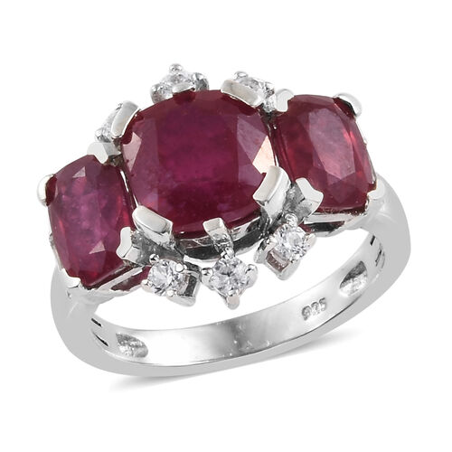 African Ruby (Cush), Natural Cambodian Zircon Trilogy Ring in Platinum Overlay Sterling Silver 6.500 Ct.