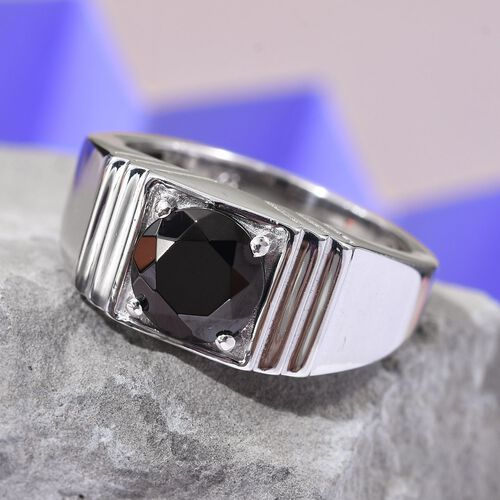 Elite Shungite Solitaire Ring in Platinum Overlay Sterling Silver 1.00 Ct, Silver wt 6.00 Gms