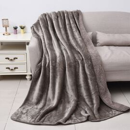 High-Quality Flannel Sherpa Bonded Blanket (Size 200x150 Cm)- Light Grey