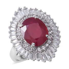 African Ruby (Ovl 12x10 mm, 6.73 Ct), White Topaz Ring in Rhodium Overlay Sterling Silver 9.210 Ct, Silver wt 6.00 Gms.