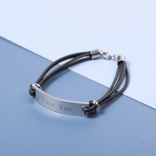 Personalise Engraved Genuine Leather ID Bracelet for Men - Size 8Inch