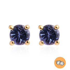 AA Tanzanite Stud Earrings (with Push Back) in 14K Gold Overlay Sterling Silver 0.54 Ct.