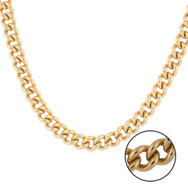 Italian Made - Gold Overlay Sterling Silver Curb Chain (Size 18), Sliver Wt. 20.33 Gms