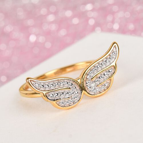 Diamond Angel Wing Ring in 14K Gold Over Sterling Silver