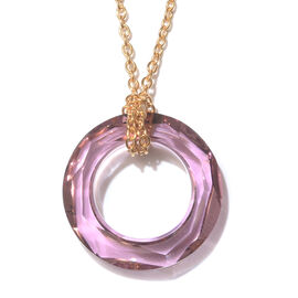 J Francis Swarovski Antique Pink Crystal Circle Pendant with Chain in Sterling Silver Grams