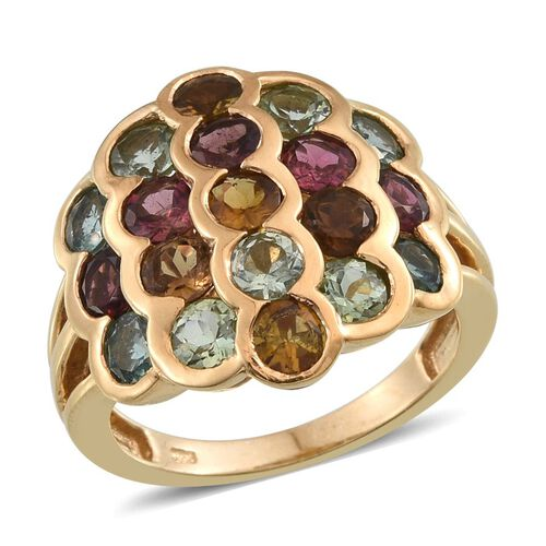 Rainbow Tourmaline (Rnd) Ring in 14K Gold Overlay Sterling Silver 4.750 Ct.