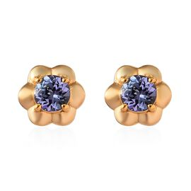 Tanzanite (Rnd) Floral Stud Earrings (with Push Back) in 14K Gold Overlay Sterling Silver 0.75 Ct.