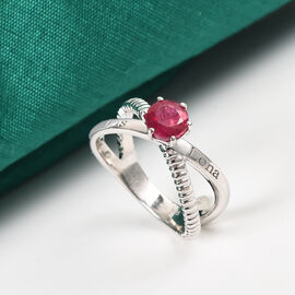 Personalise Engravable Criss Cross Ruby Solitaire Ring