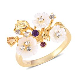 Jardin Collection - White Mother of Pearl, Citrine, Amethyst, Rhodolite Garnet and Natural White Cam