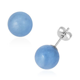 Espirito Santo Aquamarine (Rnd) Earrings (with Push Back) in Rhodium Overlay Sterling Silver 22.500