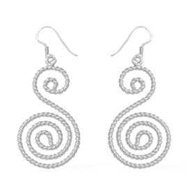 Twisted S Shaped Spiral Drop Earrings in Sterling Silver 5.45 Grams